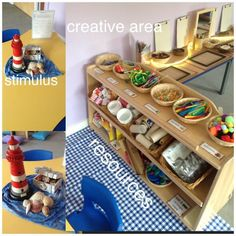 LOOSE PARTS My creative area. This week is seaside. An interactive display in the middle of the table to inspire children's model making. Eyfs Classroom, Classroom Layout, Classroom Organisation, Classroom Design, Classroom Ideas, Classroom Teacher, Preschool Centers, Preschool Art, Creative Area Eyfs
