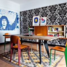 from marie claire. i'd replace the mick jagger with another rock star...but otherwise love this vintage room.