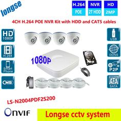 506.00$  Buy now - http://aliqgw.worldwells.pw/go.php?t=32718744574 - HDMI 4CH CCTV System 1080P H264 NVR IR Network Security POE dome Camera Video Surveillance System Kit With 2TB HDD ,CAT5 cable 506.00$