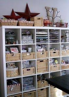 The Nest: Craft Room Inspiration - Ikea Kallax and baskets to organize craft & art supplies Craft Room Storage, Craft Organization, Craft Rooms, Storage Ideas, Storage Baskets, Wall Storage, Organizing Crafts, Storage Solutions, Ikea Storage