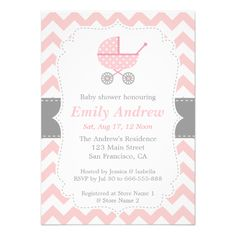 Elegant and classy girl baby shower invitation. It features a pink stroller with polka dots pattern, a pink and white chevron background, and a white centre with stitch effects for indicating party details. This simple invitation card with its pink, white and grey palette is perfect for anyone who is planning a baby shower or needed an announcement for the arrival of a newborn baby girl. Invitation card can be easily personalised with your party details. #baby #shower #newborn #newborn #baby…