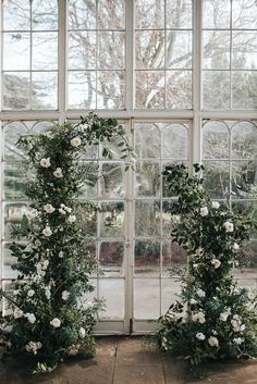 Flower Arch Installation Backdrop Ceremony Aisle Greenery Foliage Rose Wild Natural Wollaton Hall Wedding Pear and Bear Photography ceremony flowers Wollaton Hall Wedding Intimate Romantic & Wintry Glass House Incredible Flower Arch Wedding Arch Flowers, Floral Wedding, Wedding Bouquets, Purple Wedding, Flower Installation, Floral Arch, Ceremony Decorations, Church Decorations, Glass House