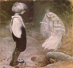 """ronot: Illustration from Alfred Smedberg's The Seven Wishes among Gnomes and Trolls by John Bauer. """"At that moment the frog princess became a beautiful fairy girl."""" ~ The caption and more John Bauer illustrations can be found at Art Passions. John Bauer, Art And Illustration, Book Illustrations, Art Beauté, Fairytale Art, Beautiful Fairies, Real Fairies, Pixies, Mythical Creatures"""