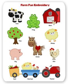 Farm Fun Embroidery Designs Animal Cow Horse Pig Frog Barn Tractor Sheep Hen