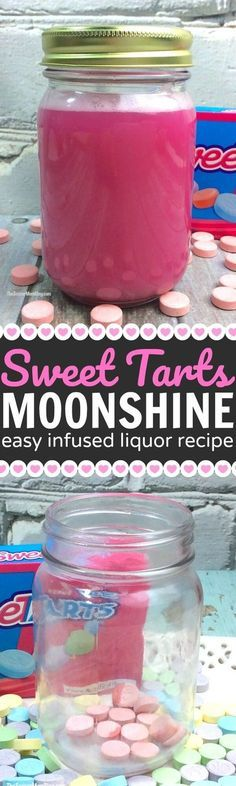 Sweet Tarts Moonshine Recipe - Only 2 Ingredients! Just as much fun to make as it is to drink! Shake it up with this Sweet Tarts Moonshine Recipe! An easy homemade infused alcohol tutorial. Party Drinks, Cocktail Drinks, Fun Drinks, Yummy Drinks, Cocktail Recipes, Beverages, Yummy Food, Homemade Moonshine, Moonshine Recipe