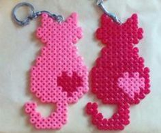 Couple of keychains. Cats in love. by sugargalaxystore – Buegelperlen – Hama Beads Perler Bead Designs, Hama Beads Design, Diy Perler Beads, Perler Bead Art, Pearler Beads, Melty Bead Patterns, Pearler Bead Patterns, Perler Patterns, Beading Patterns