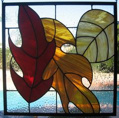 Stained glass window panel fall leaves in red by KatarahsAttic, $195.00