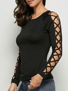 Raglan Sleeve Cut Out T-Shirt in Black | Sammydress.com