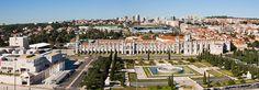 View from the top of the Monument to the Discoveries towards Mosteiro dos Jerónimos, Praça do Império and Belém Cultural Center. Lisbon, Portugal