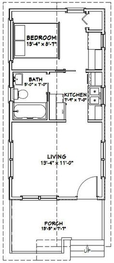 12x28 1 Bedroom House -- #12X28H1C -- 336 sq ft - Excellent Floor - one bedroom house plans