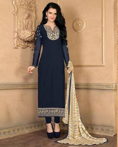 Dark blue straight suit with floral embellished neckline   1. Dark blue poly georgette straight suit2. Comes with matching santoon bottom and chiffon dupatta3. Can be stitched upto size 42 inches
