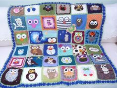 Irish lace, crochet, crochet patterns, clothing and decorations for the house, crocheted. Crochet Afghans, Crochet Owl Blanket, Grannies Crochet, Crochet Owls, Crochet Squares, Crochet Crafts, Crochet Stitches, Crochet Baby, Crochet Projects