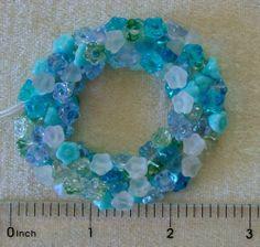 100 Assorted Serenity Mix Czech Glass Cone Bell Flower Button Drop Beads #PreciosaOrnela #Pressed