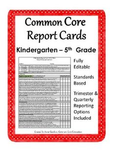 Standards Based Report Cards ~ Available for Kindergarten through Eighth Grade. Will customize as needed. ($)