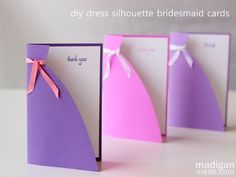 Love this simple handmade card idea in a dress shape - perfect for mom, bridesmaids or birthday girls! (Pretty!)