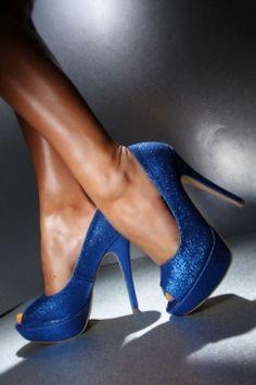 blue glitter peep toe heels