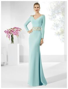 Stunning Acetate Satin Evening Dress ,V-neck Neckline Floor-length Party Dress ,Sheath Mother Of The Bride Dresses With Lace Appliques Prom Dresses Long With Sleeves, Lace Evening Dresses, Sexy Wedding Dresses, Cheap Wedding Dress, Ball Dresses, Evening Gowns, Ball Gowns, Lace Dress, Bride Dresses
