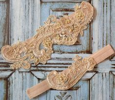 SALE Champagne / Gold Lace Wedding Garter Set by SpecialTouchBridal $29.99