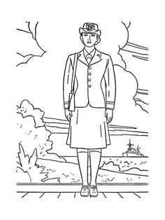 Female Officer In Navy Uniform Celebrating Veterans Day Coloring Page