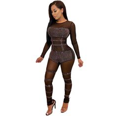 ec853ce80ed Women s Fashion Mesh See Through Bodycon Pants Hot Drilling Jumpsuit  Clubwear