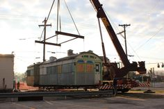 An early morning historic move. Skee's Diner flying off it's foundation after nearly 70 years.