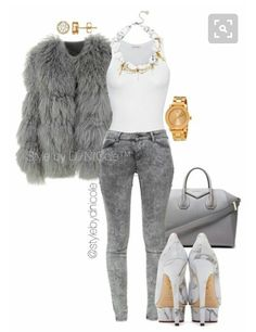 A fashion look from January 2016 featuring white cotton shirt, sheep fur jacket and light grey jeans. Browse and shop related looks. Lila Outfits, Swag Outfits, Cute Casual Outfits, Casual Chic, Stylish Outfits, Fashion Outfits, Womens Fashion, Stylish Clothes, Estilo Fashion