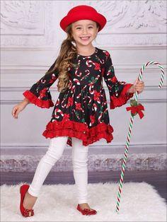 7d4b190733e7 Girls Christmas Themed Candy Cane Print Long Sleeve Crochet Ruffled Tunic # christmasdress #printeddress #