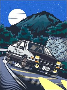 Initial D Takumi Fujiwara Hachiroku Downhill Attack! Animes Wallpapers, Car Wallpapers, Initial D Car, Jdm Wallpaper, Street Racing Cars, Auto Racing, Japon Illustration, Honda Civic, Honda S2000