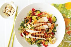 Napa Cabbage Slaw With Grilled Chicken—This crunchy summer salad makes a great light dinner. Keep any leftovers for lunch the next day. To scoop out the cucumber seeds, halve the cucumber, then run a spoon down the centre. Napa Cabbage Recipes, Napa Cabbage Slaw, Cooked Cabbage, Grilled Chicken Salad, Chinese Cabbage, How To Make Salad, Summer Salads, Lunches And Dinners, Pasta Salad