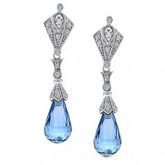 Bling Jewelry Briolette Aquamarine Color Resin Gatsby Inspired Dangle Earrings