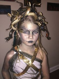 Ideas & Accessories for your DIY Medusa Halloween Costume Idea #halloweencostumekids