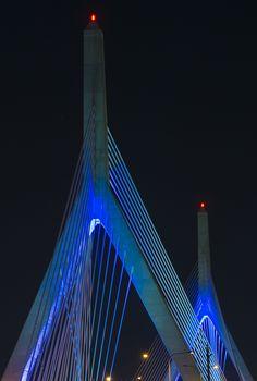 Boston, we love you... Leonard P. Zakim Bunker Hill Bridge bathed in blue light. #zakim #bridge #boston