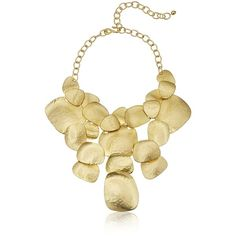 "Kenneth Jay Lane Satin Gold-Plated Hammered Bib Necklace, 11"" + 8""... ($263) ❤ liked on Polyvore featuring jewelry, necklaces, chunky jewelry, chunky chain link necklace, gold plated jewelry, chunky statement necklace and kenneth jay lane necklace"