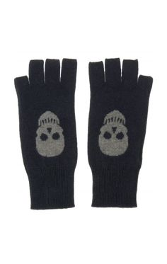 Cashmere Skull Fingerless Gloves.