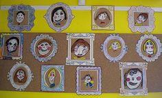 Portraits de famille : du papier kraft, un cadre en papier, des pastels, de la peinture.