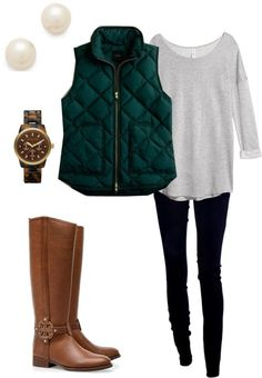 black leggings, white blouse, green quilted vest, tall brown boots, pearl studs
