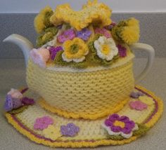 hand knit crocheted and beaded large tea cosy by peerietreisures
