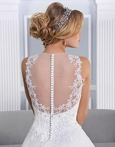 Gorgeous illusion back neckline! #lace #ballgown #weddingdress