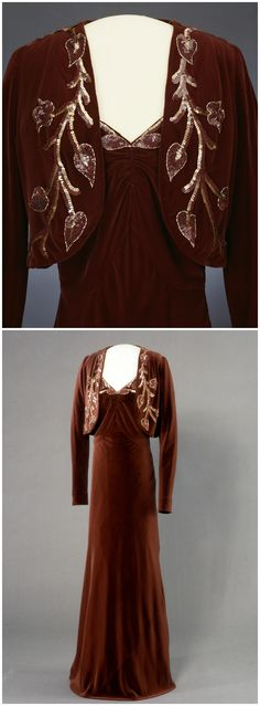 """Ensemble, """"Message,"""" by Worth, London, United Kingdom, 1937-38. Belonged to Queen Maud of Norway. Machine-woven silk fabrics in velvet, satin and plain weave, hand embroidered with plastic sequins and bugle beads. The National Museum of Art, Architecture and Design, Oslo, via DigitaltMuseum (link: http://digitaltmuseum.no/011061626307?pos=37&count=133&folder_id=2144). CLICK FOR BIGGER IMAGES."""
