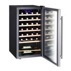 Chills up to 28 bottle of wine at one time. Keeps contents between 39 and 72 degrees. Six wooden wine shelves are included to store wine bottles.