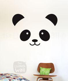 Panda Face Wall Decal, Panda Decals for Baby Room, Panda Face Vinyl Stickers Wall Art, Panda Head Wall Sticker Removable