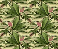 fabric, upholstery, patterns, quilting fabric, wallpaper, wrapping paper - Cordyline Princess Margaret Watercolor Cream fabric by wickedrefined on Spoonflower