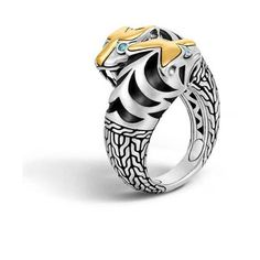 John Hardy Legends Macan Gold Accented Double Head Ring (€885) ❤ liked on Polyvore featuring jewelry, rings, tiger ring, john hardy jewelry, animal wrap around rings, gold chain ring and gold animal rings