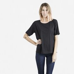 The Drop Shoulder Crew Tee, Everlane.  My VERY favorite T! Roomie, long, super soft and AFFORDABLE at $22. I have every color and they are the first thing I wear out of the wash.