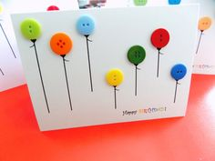 Birthday Button Balloon Card! #Buttons #buttoncrafts #buttoncards