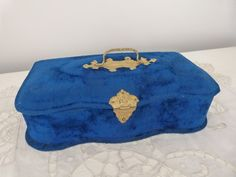 Antique blue velvet wooden sewing box rare 1800s French jewelry trinket box keepsake box w silk cushion w sewing tools, boudoir decor