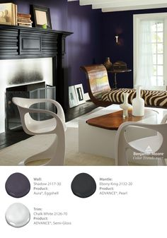 Show off your personality by layering colors and textures in your living room. Who says a fireplace mantle has to be white? The walls in this room are painted in Benjamin Moore's Color of the Year 2017 Shadow 2117-30 in Aura with an Eggshell finish. The mantle color is Ebony King 2132-20 in a Satin finish and the trim is Chalk White 2126-70 in ADVANCE in a Semi-Gloss finish.