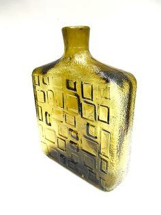 Olive Green Large Glass Bottle Vase by worldvintage on Etsy