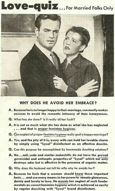 What every woman should know... Lysol in your vag will save your marriage