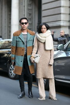 Must-See Street Style From Milan Fashion Week Fall 2015 - neutral ensemble: chunky knit scarf + knit sweater dress and matching wide leg knit pants